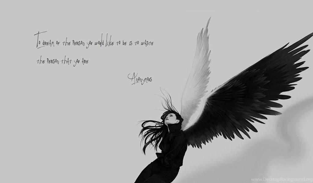 Anonymous Angels Monochrome Quotes Sad Wallpapers Desktop Background