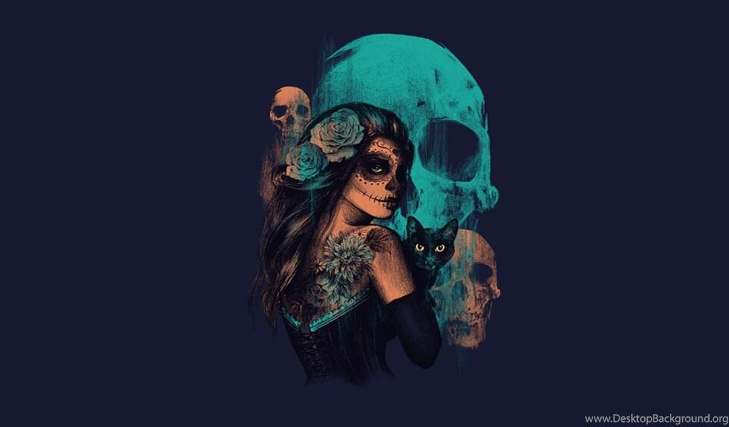 Women sugar skull skull artwork fantasy art wallpapers hd playstation 960x544 voltagebd Gallery