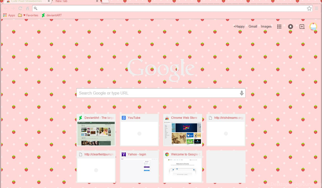 Pixel Strawberries On Pink Google Chrome Theme — Weasyl