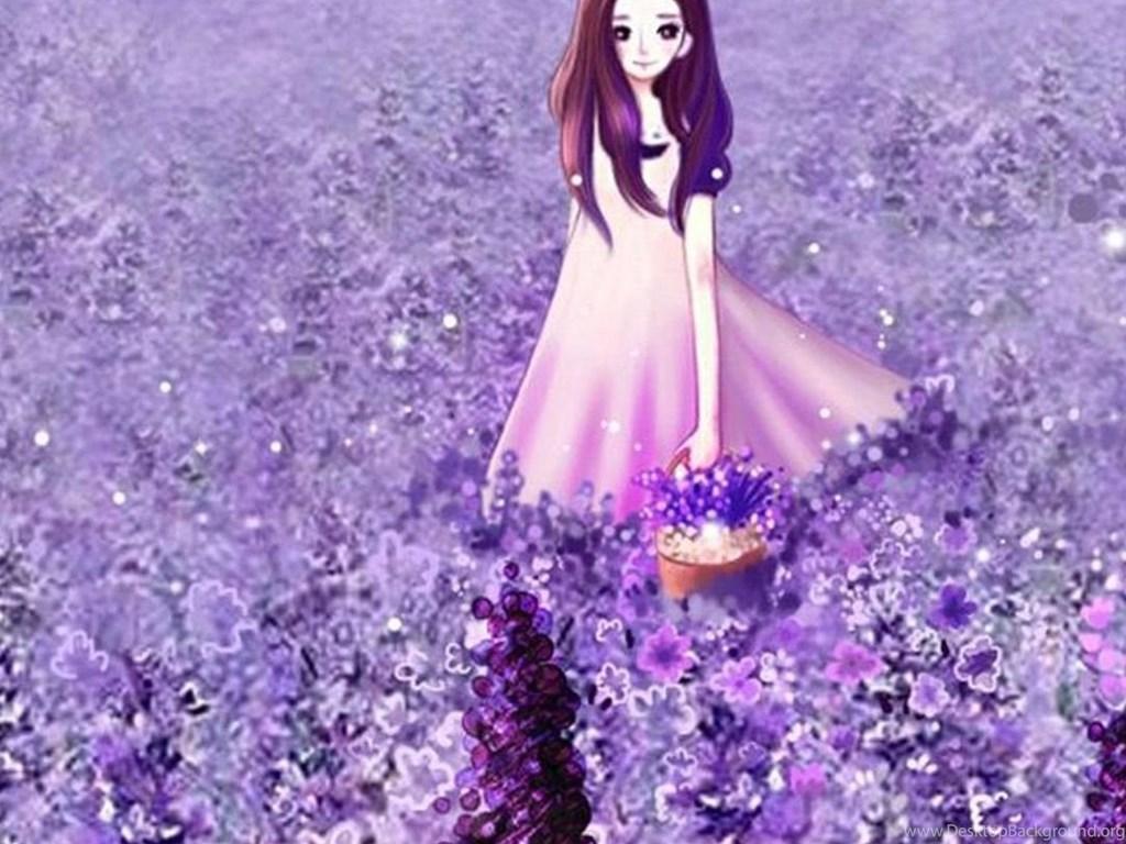 Purple Iphone 6 Wallpaper 14276 Wallpaper: Anime Cute Girl In Purple Flower Garden IPhone 6
