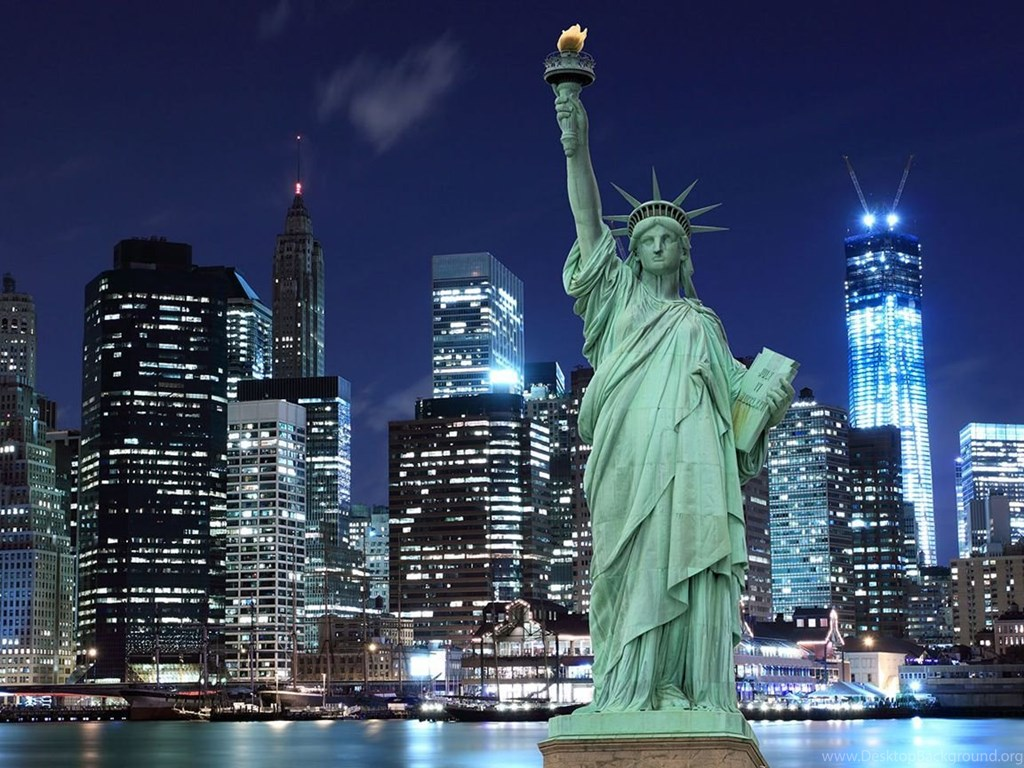 New York Statue Of Liberty At Night Wallpaper Desktop Background