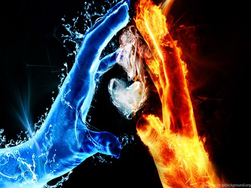 Фото картинки обои огонь и вода