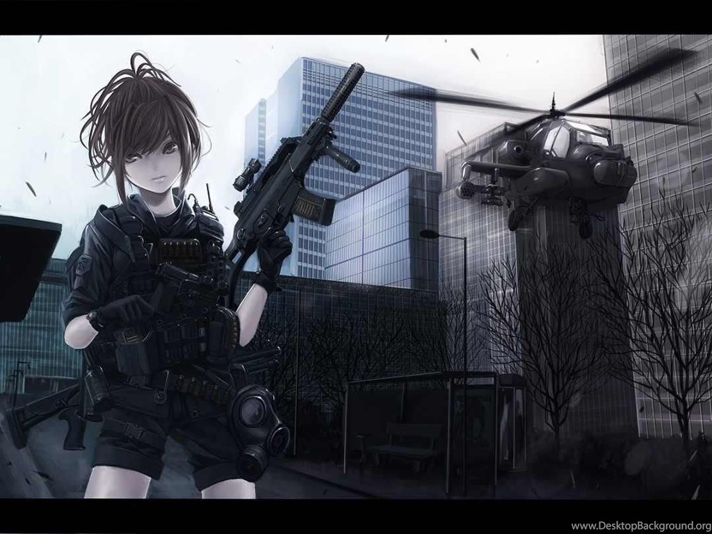 Anime Girl With Gun Wallpapers Desktop Background