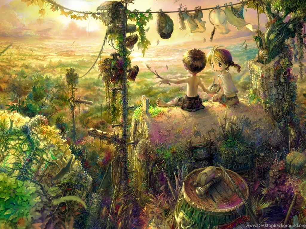 Wallpapers Trippy Mushrooms Forest Hd Anime 1366x768 Desktop Background