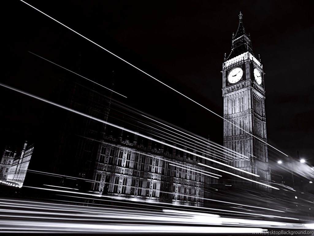 Black White Clock Tower Landscape Wallpapers Hd Desktop And