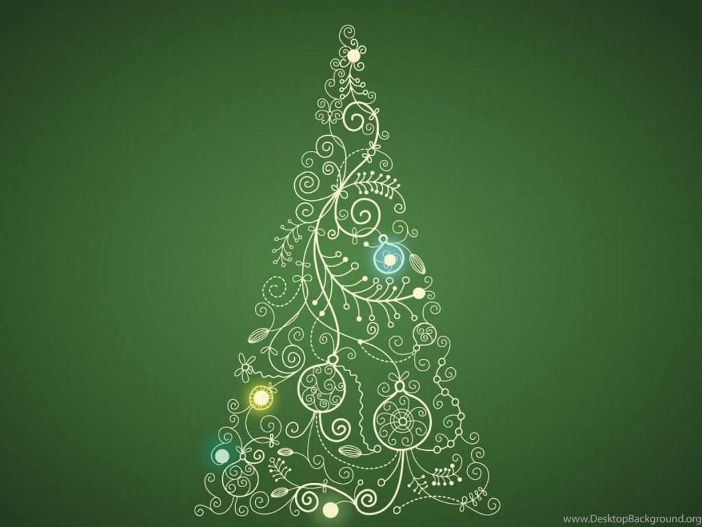 Ipad Christmas Wallpaper Hd: Christmas Tree On Green Backgrounds Illustration Ipad