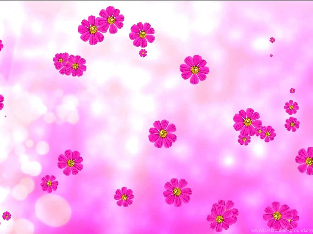 Purple Animated Flowers And Pink Background Flower Backgrounds