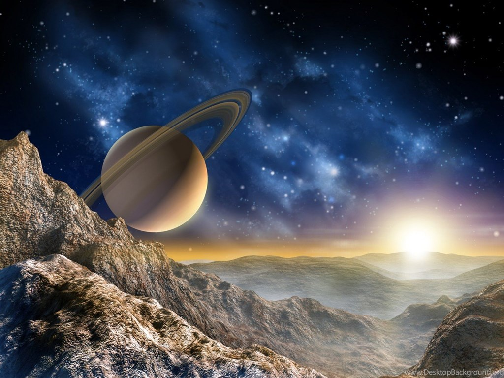 Wall Mural Wallpapers Space Planet Hill Mountain Saturn Photo 360