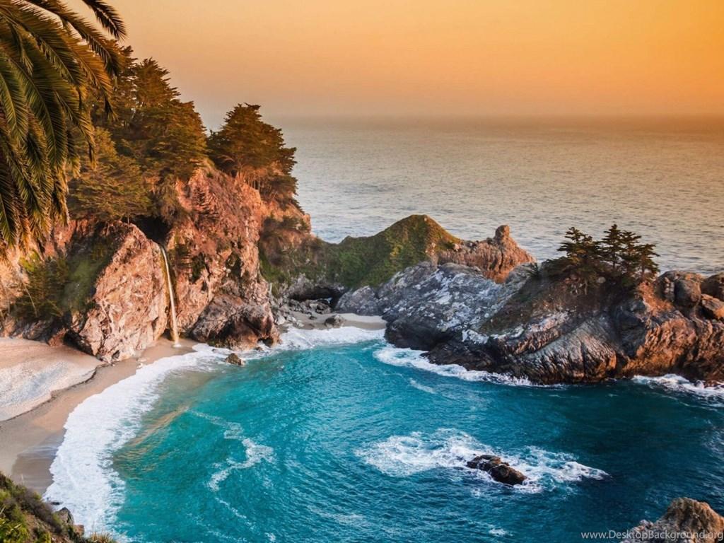 Pacific Ocean Big Sur California Beach 4k Hd Desktop: Download McWay Falls In Big Sur, California, USA HD