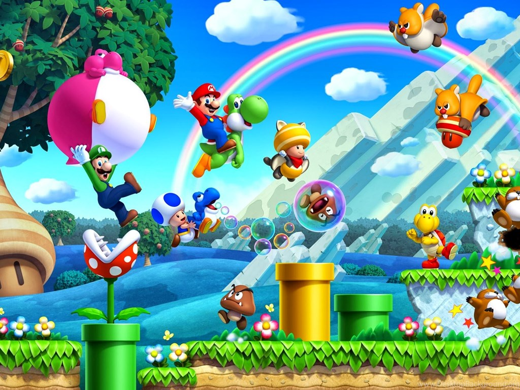 2 new super mario bros u hd wallpapers desktop background. Black Bedroom Furniture Sets. Home Design Ideas