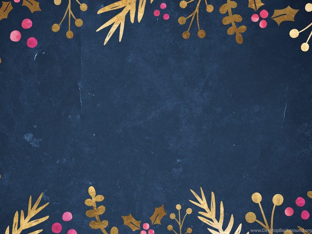 Free Festive Wallpaper Gold Foil Foliage Desktop Background