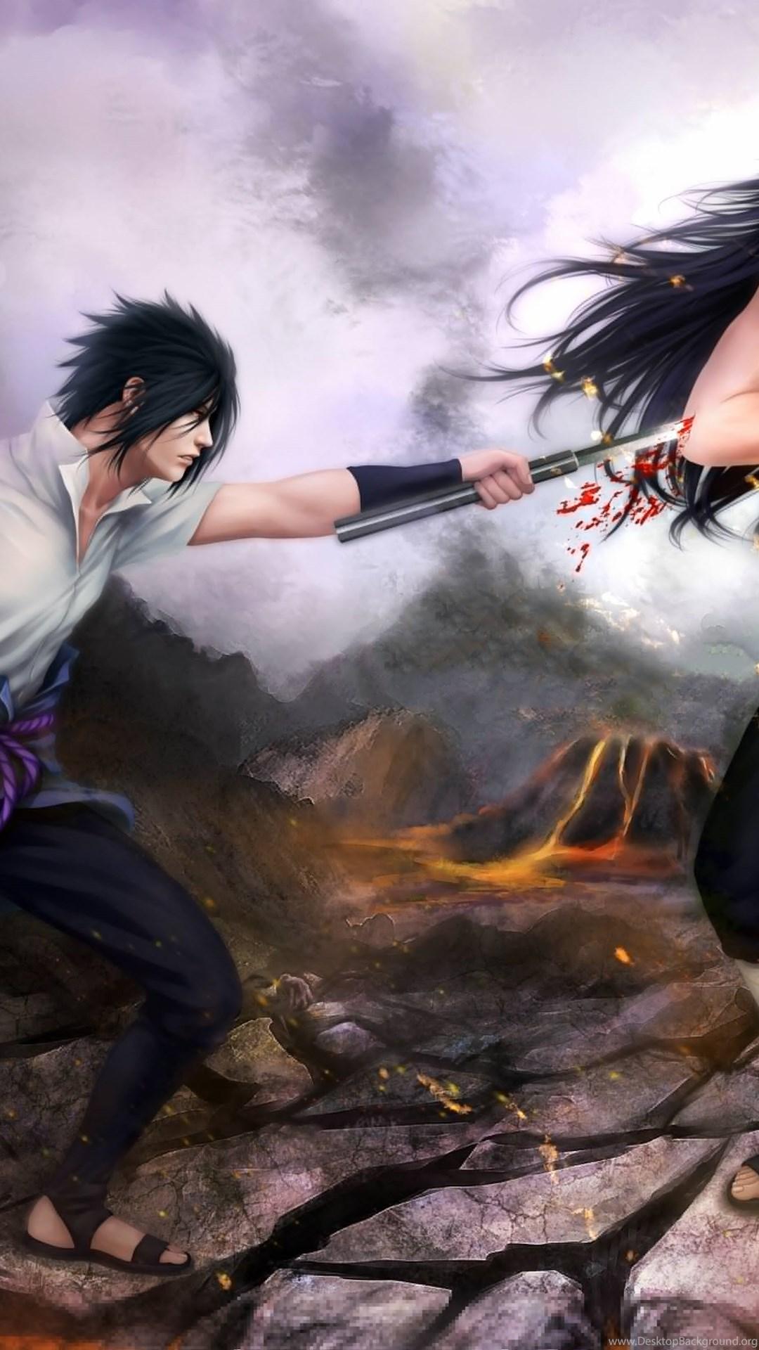 Art Naruto Sasuke Uchiha Madara Uchiha Battle Wallpapers Desktop Background