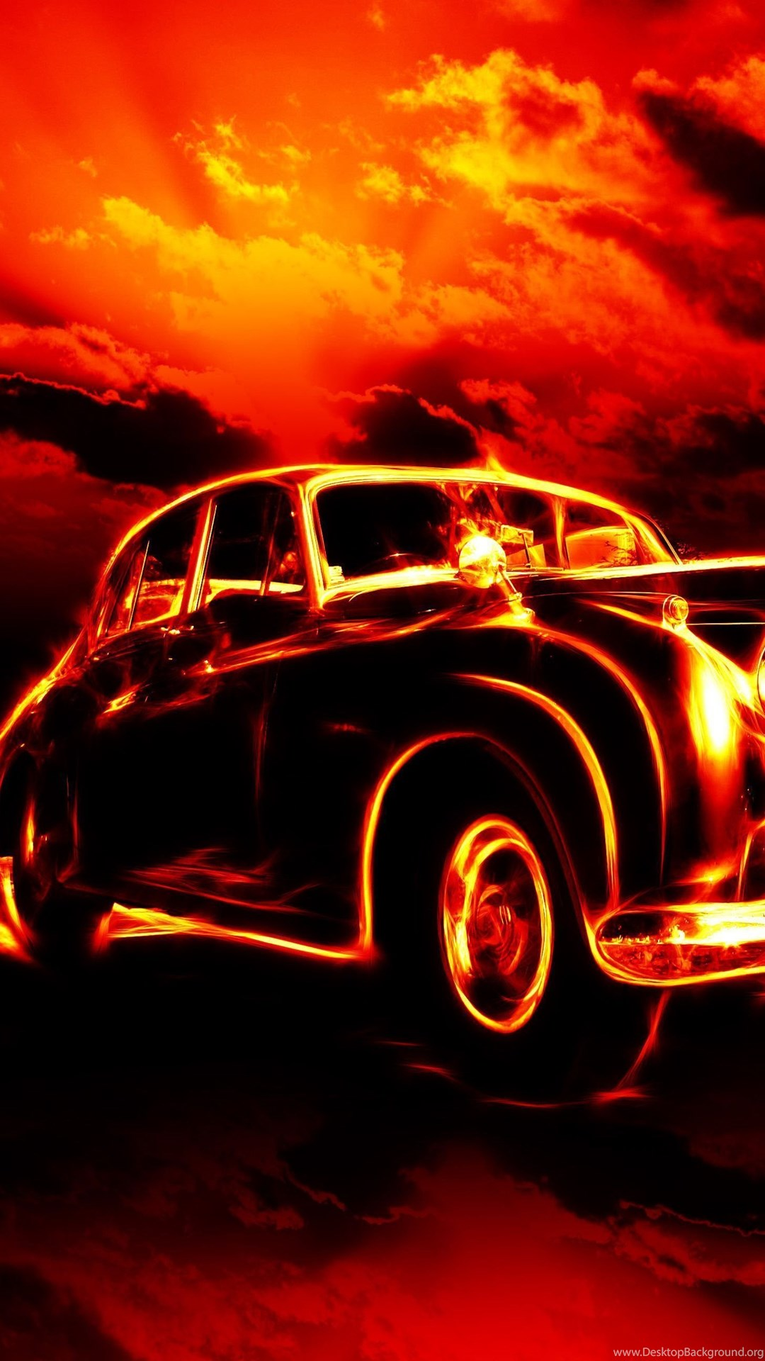 Download Wallpapers Fire Flame Hell Classic Car City Red Sky