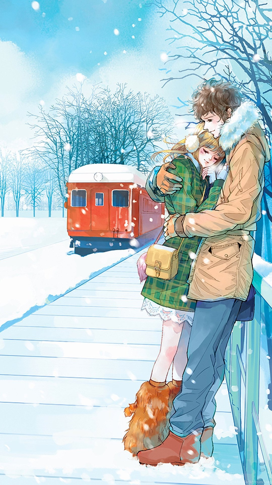 Download Wallpaper Couple Android Phone - 489020_red-train-anime-couple-snow-romantic-love-tree-wallpapers_1440x2189_h  Graphic_589319 .jpg