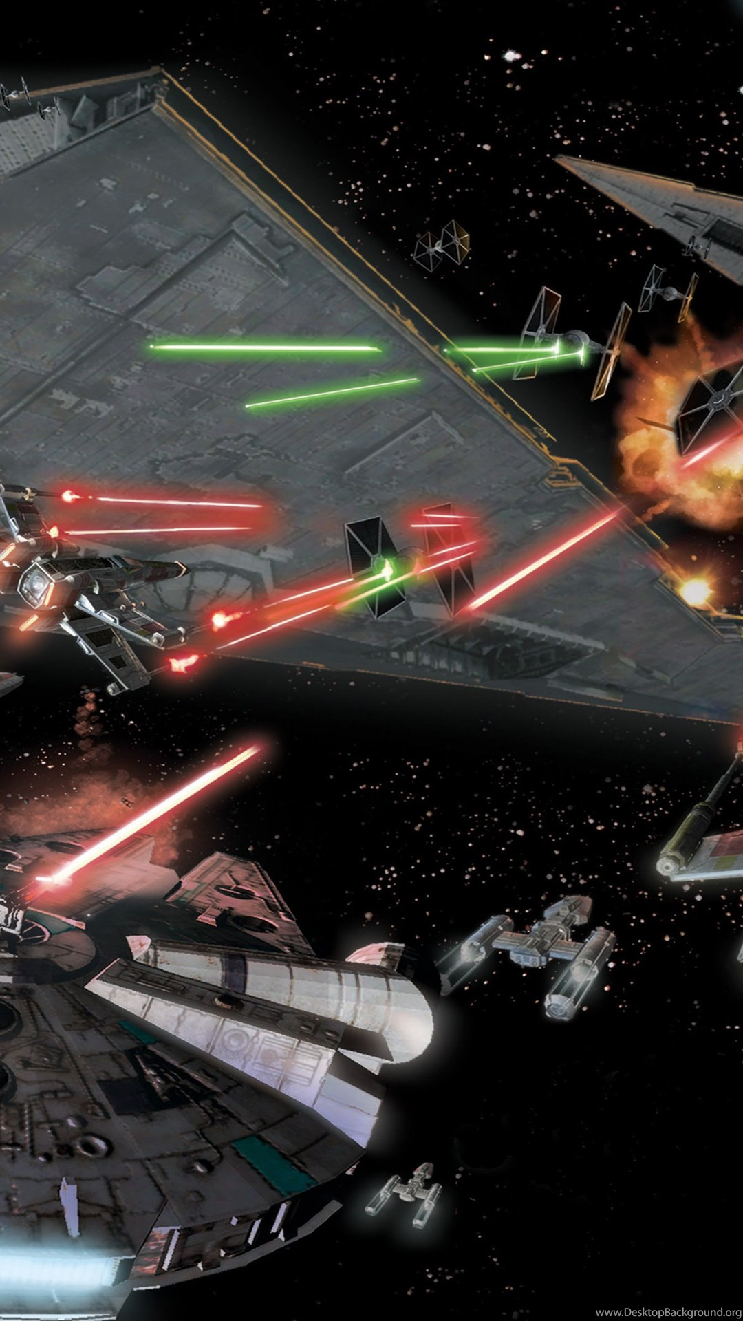 Star Wars Space Battle In Space Space Combat Aircraft Laser Shots Desktop Background