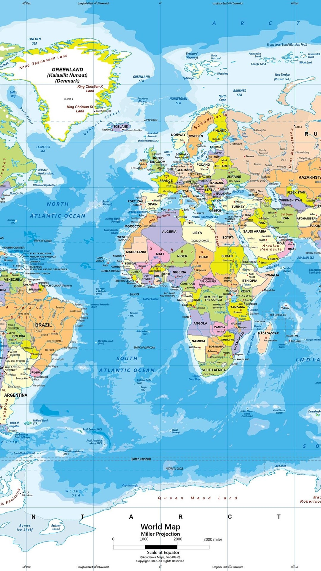 World political map wall mural miller projection desktop background mobile android tablet gumiabroncs Image collections