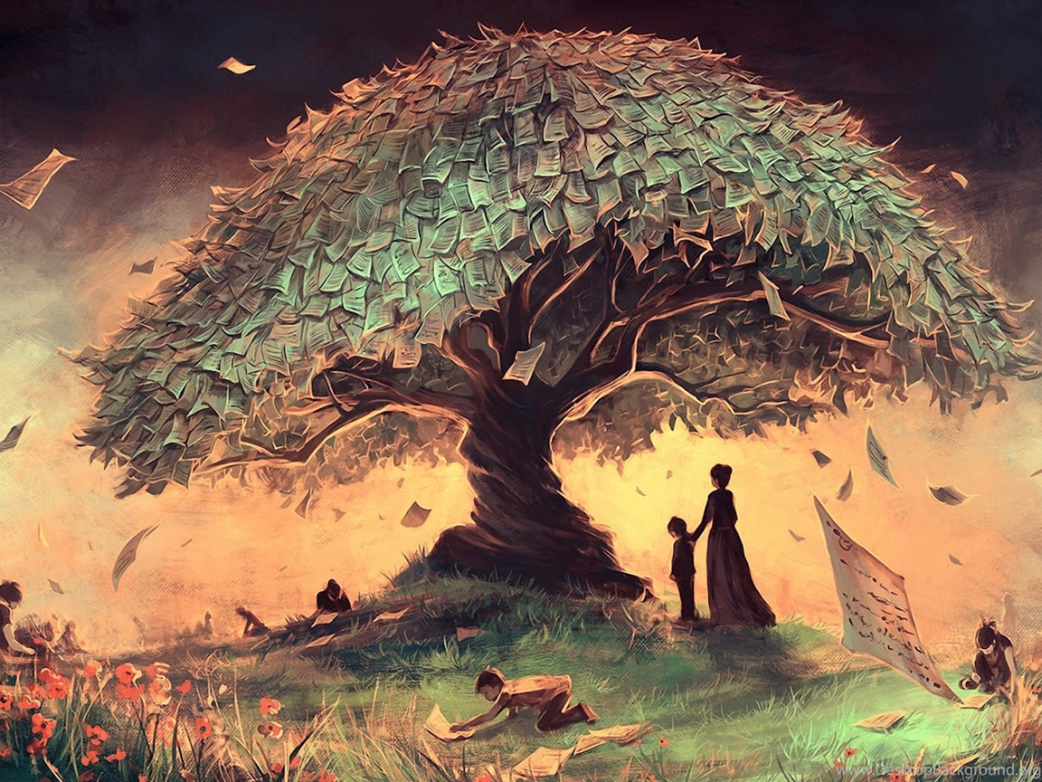 Fantasy money tree landscape children art hd wallpapers - Family tree desktop wallpaper ...