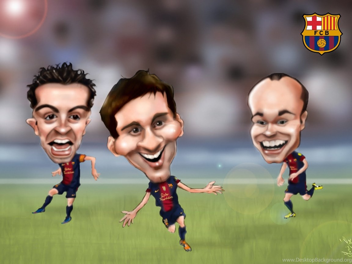 Caricature Messi Xavi Iniesta Barcelona Wallpa Desktop Background