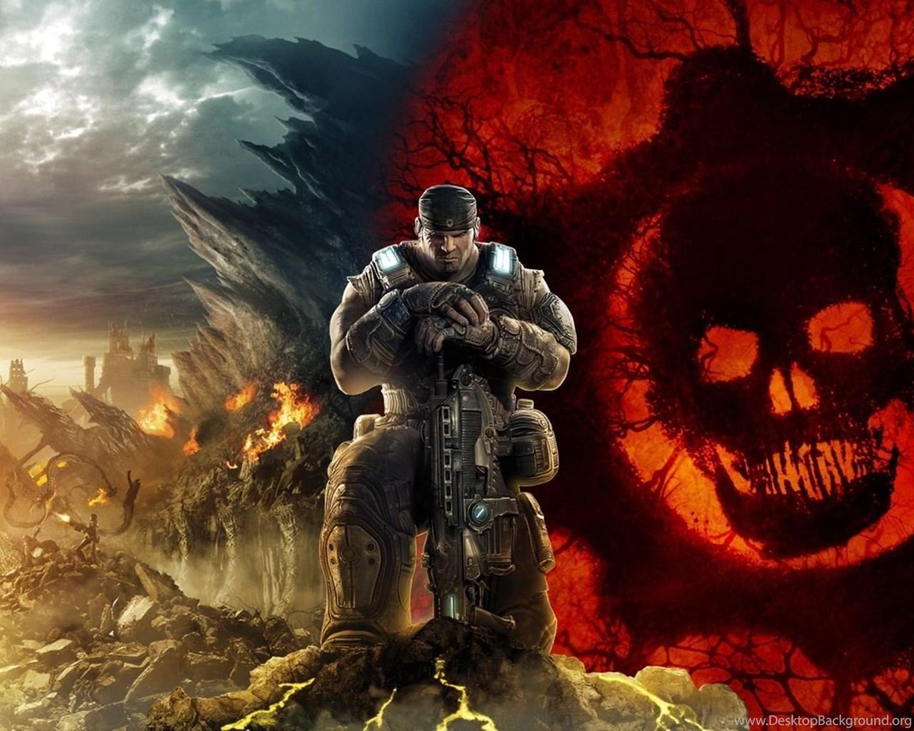 Download Wallpapers 1920x1080 Gears Of War Skull Soldier Sky