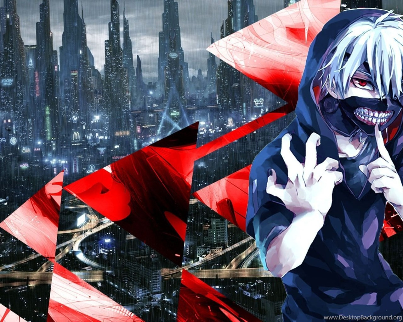 Tokyo Ghoul Kaneki Ken Blue Red Abstract Anime
