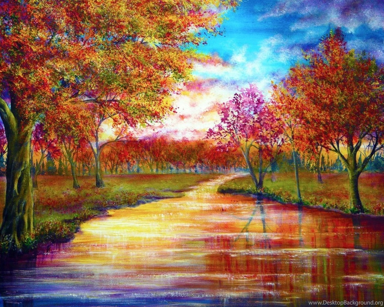 Trees september rivers vibrant colors wallpapers desktop - Vibrant background ...