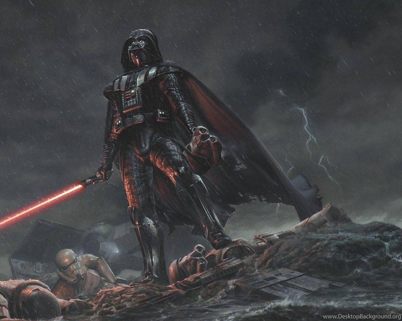 Download Wallpapers 1920x1080 Star Wars Darth Vader Art Rain Desktop Background