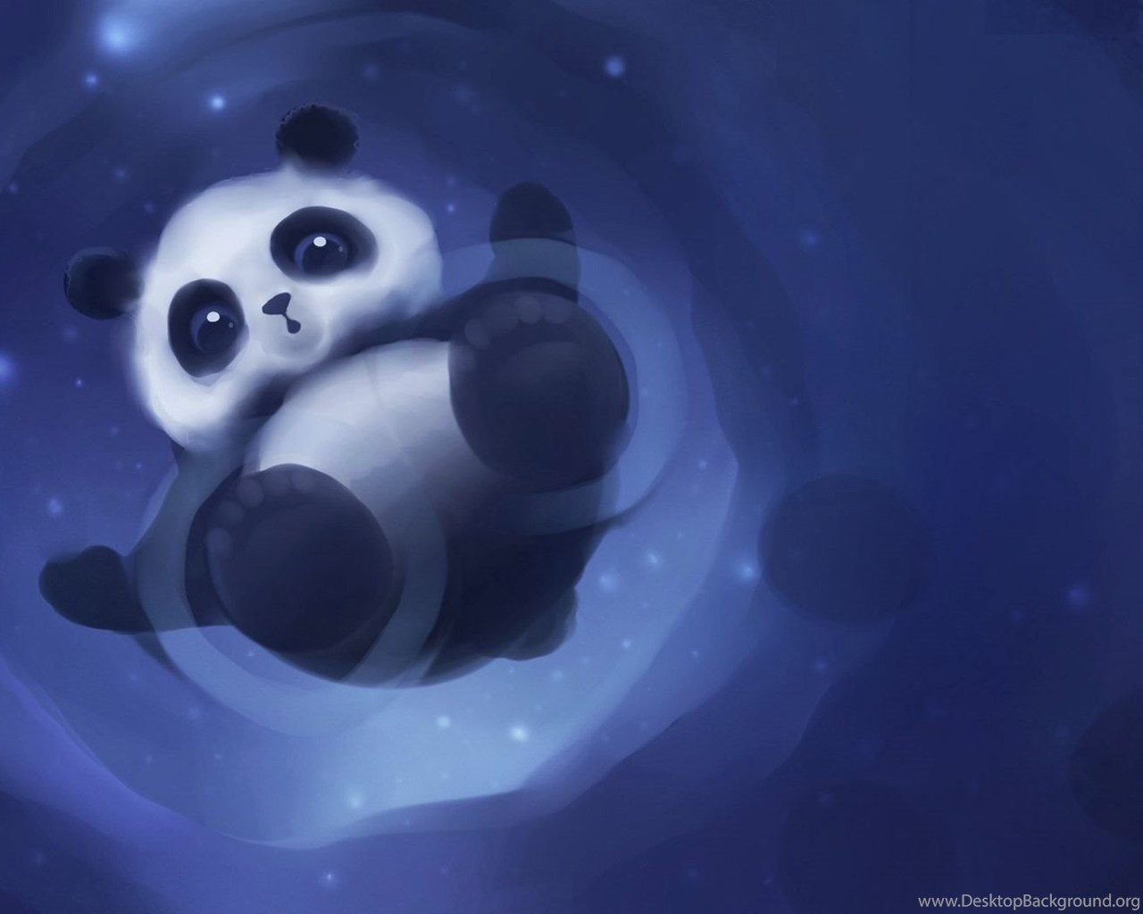 Cute Baby Panda Playing In The Puddle Wallpapers Digital Art Desktop Background