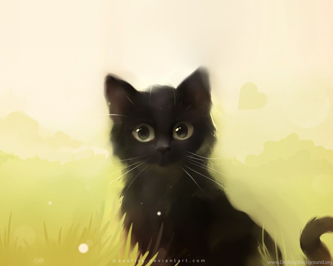 Beautiful cat painting wallpapers hd download of cute cat - Anime cat wallpaper ...