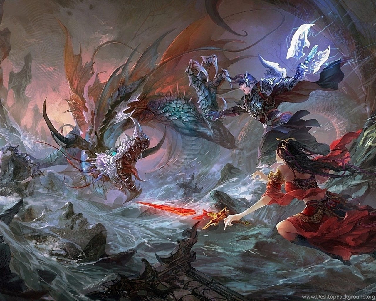 Fantasy Battle Fighting Warrior Action Art Artwork Wallpapers Desktop Background