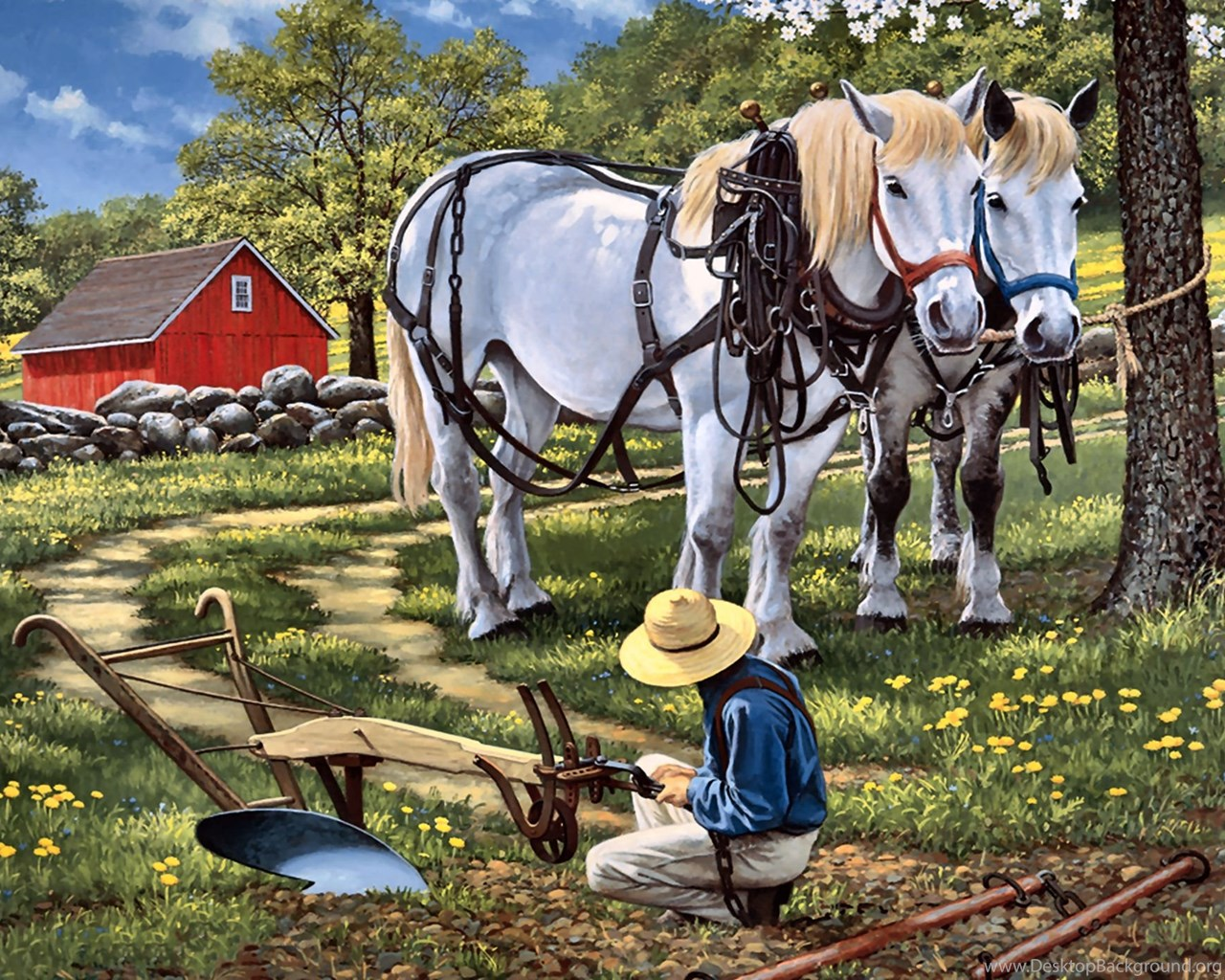 Horses Hitchin Painting Art Horse Artwork Wide Screen Equine Farm Desktop Background