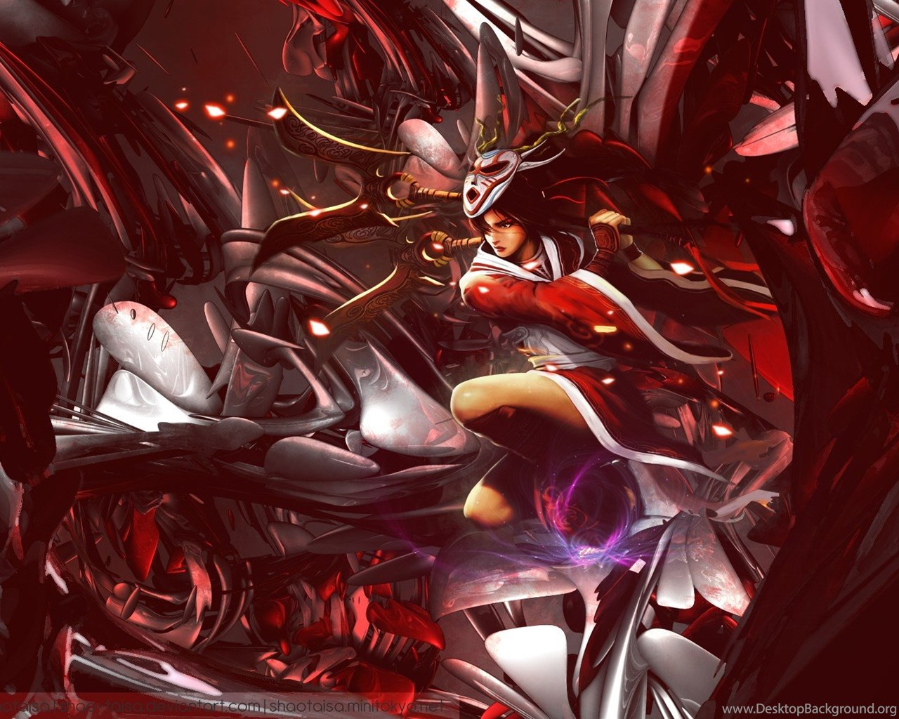 Abstract Video Games Blood Moon League Of Legends Akali Game