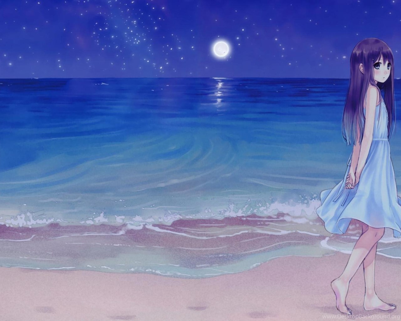 Cartoon Girl In The Beach Wallpapers Animated Desktop Background