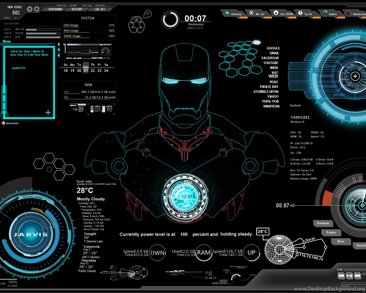 Iron Man Jarvis Wallpapers Desktop Background