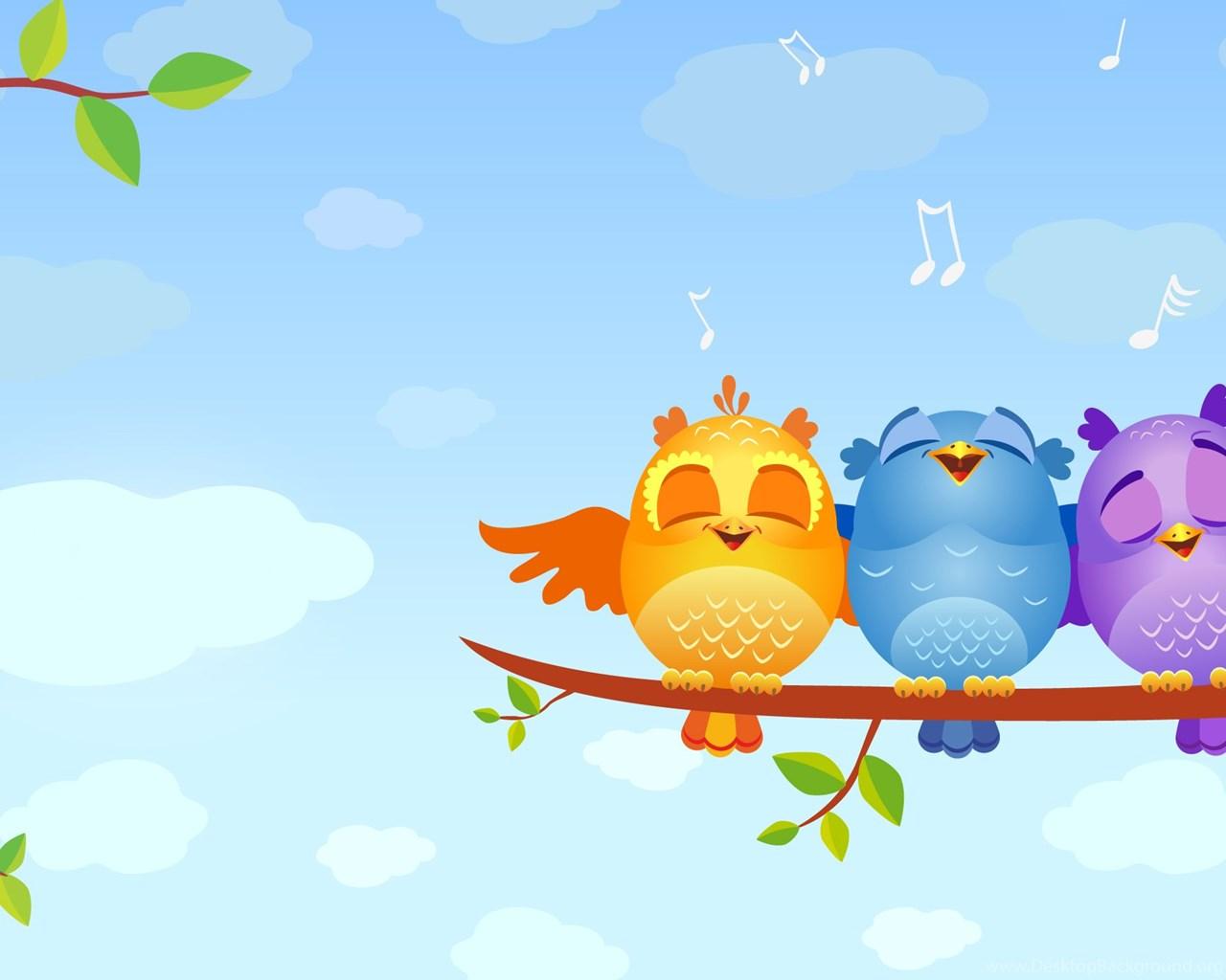 High Resolution Cute Birds Cartoon Wallpapers Full Size Desktop Background