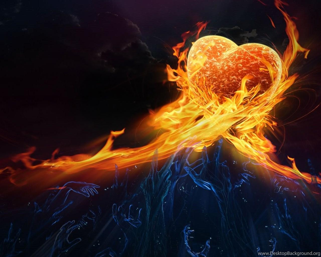 Wallpaperuniversity Com Flaming Heart Abstract 1080p