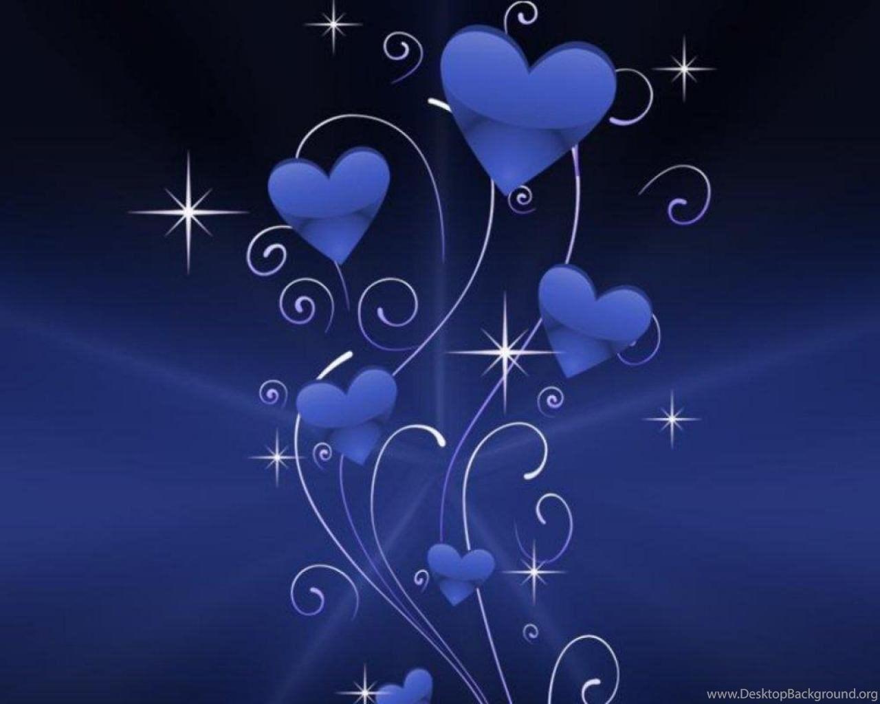 Blue Hearts Sparkles Wallpapers ( Desktop Background Blue Heart Wallpapers