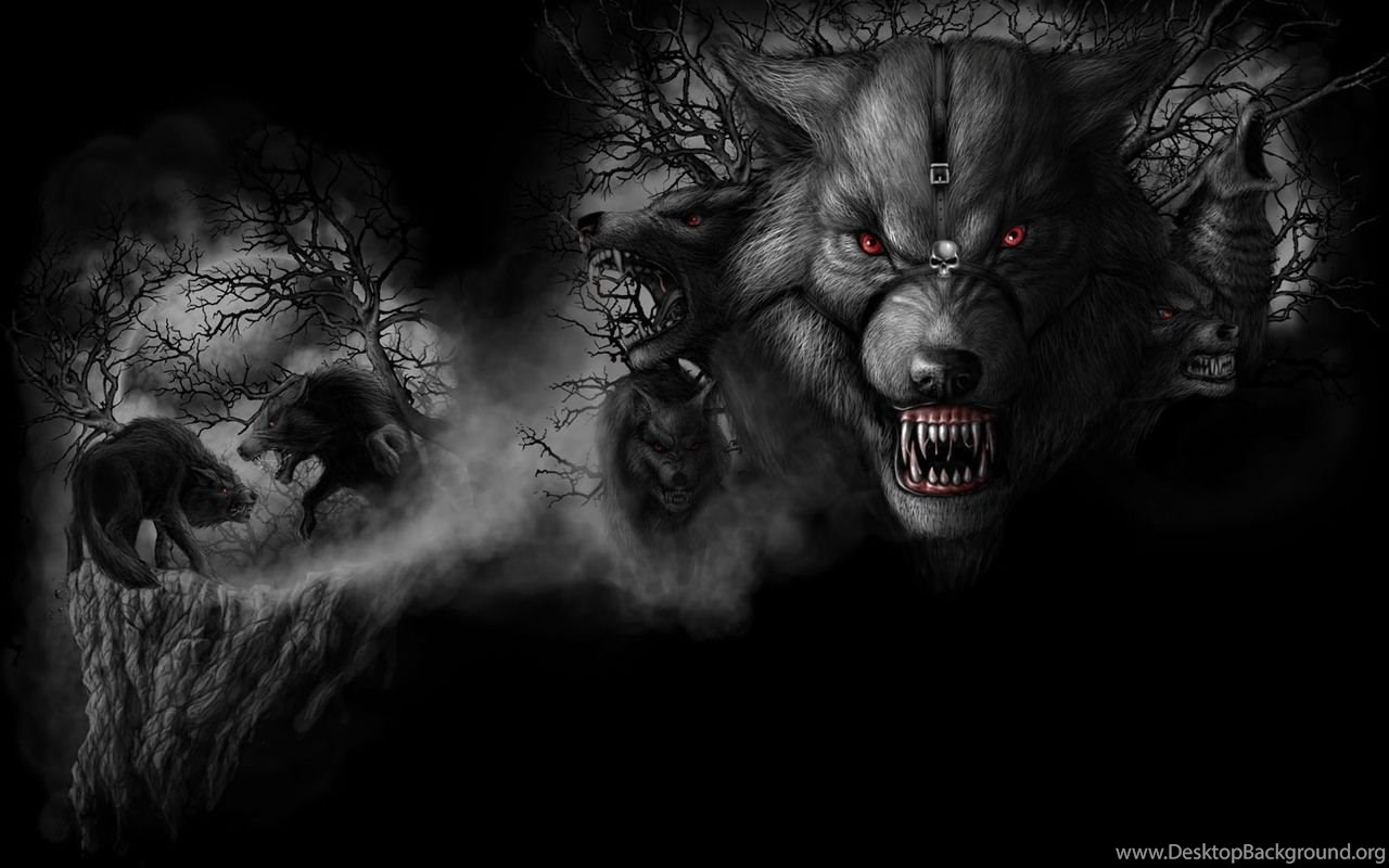 Black And White Angry Werewolfs With Red Eyes Wallpapers From