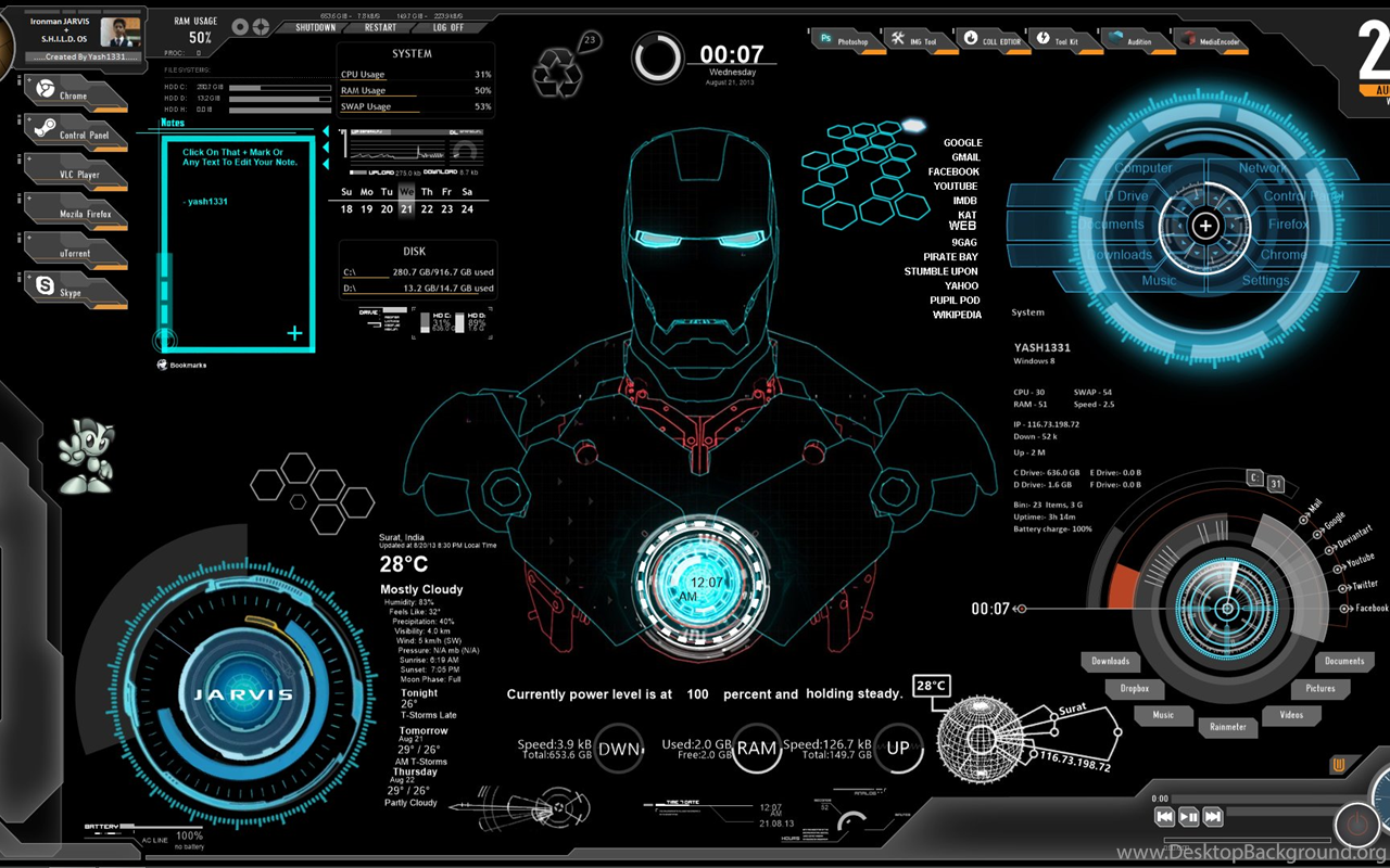 Iron Man Jarvis Wallpapers Desktop Background