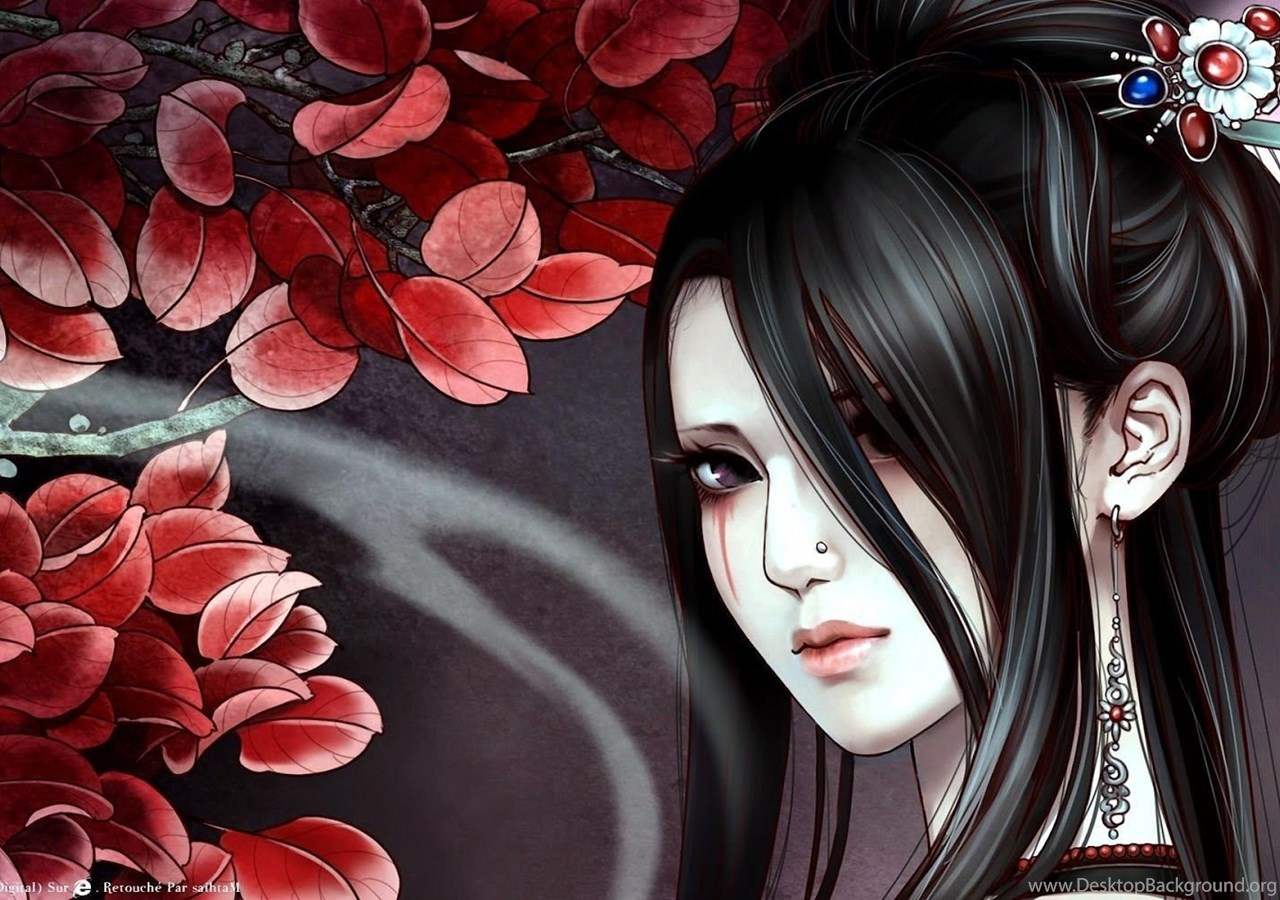 Girl Tattoo Black Long Hair Anime Hd Wallpapers Desktop Background
