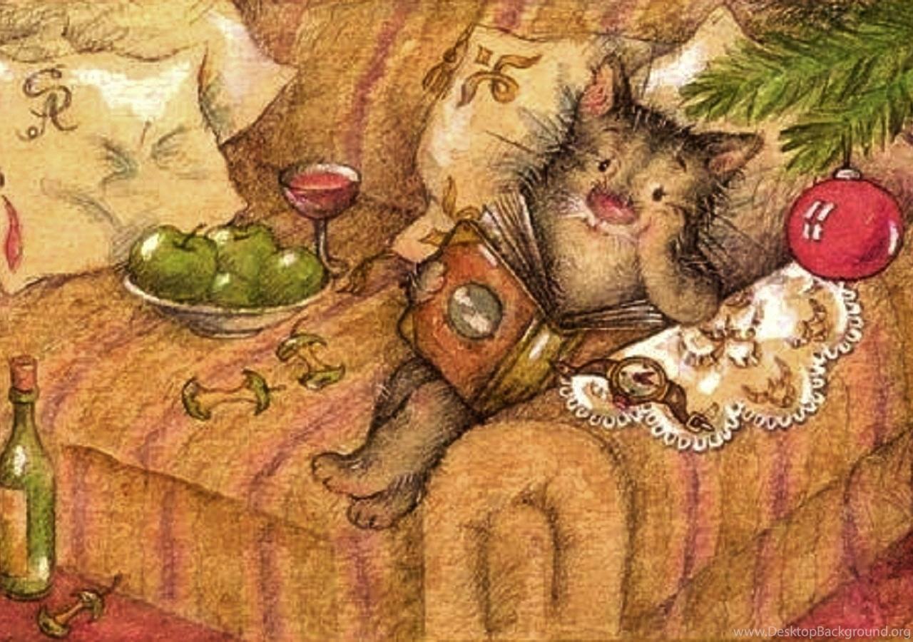 Cozy Christmas Cat Wallpaper Desktop Background