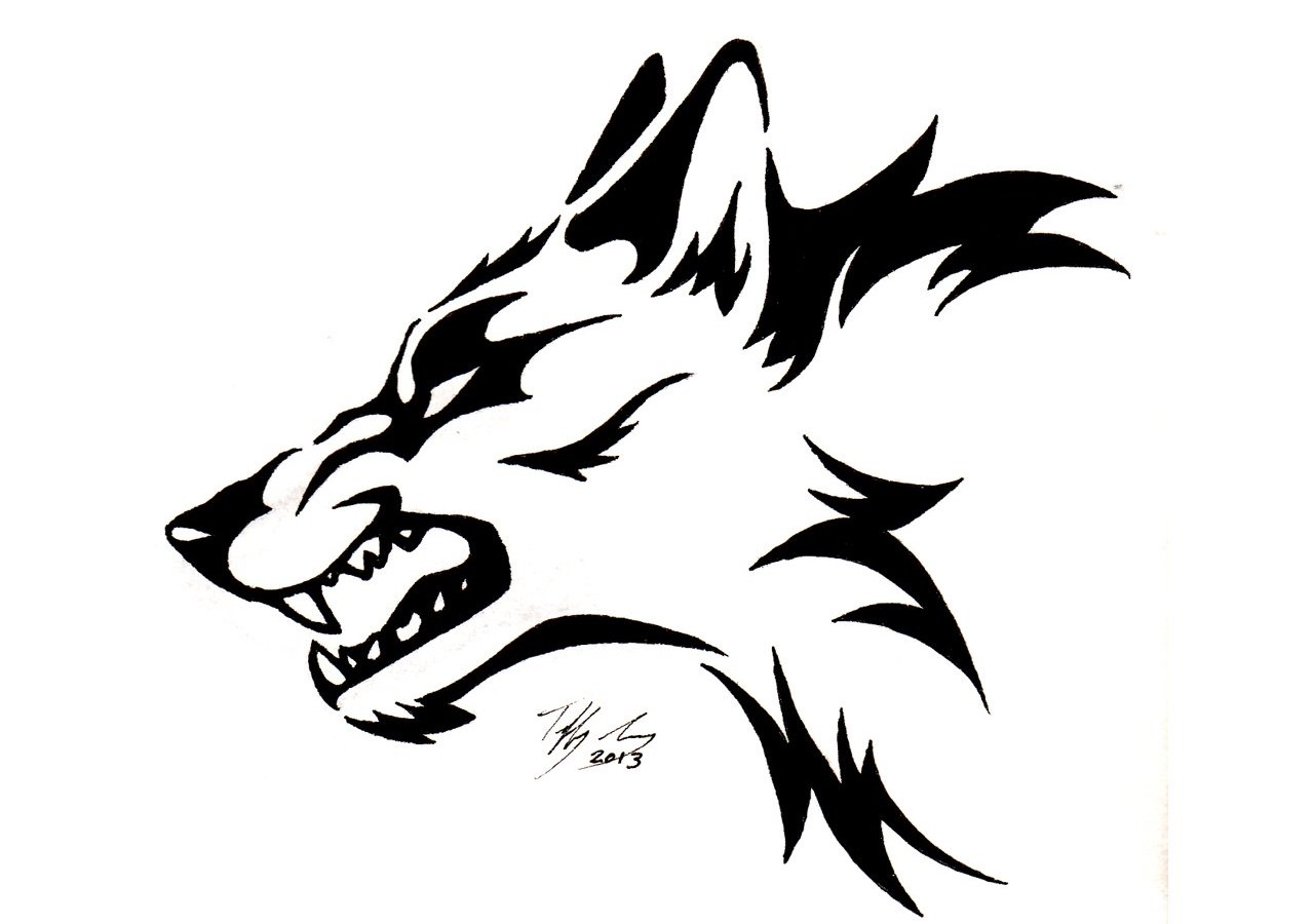 Angry Tribal Wolf Tattoo Design Desktop Background
