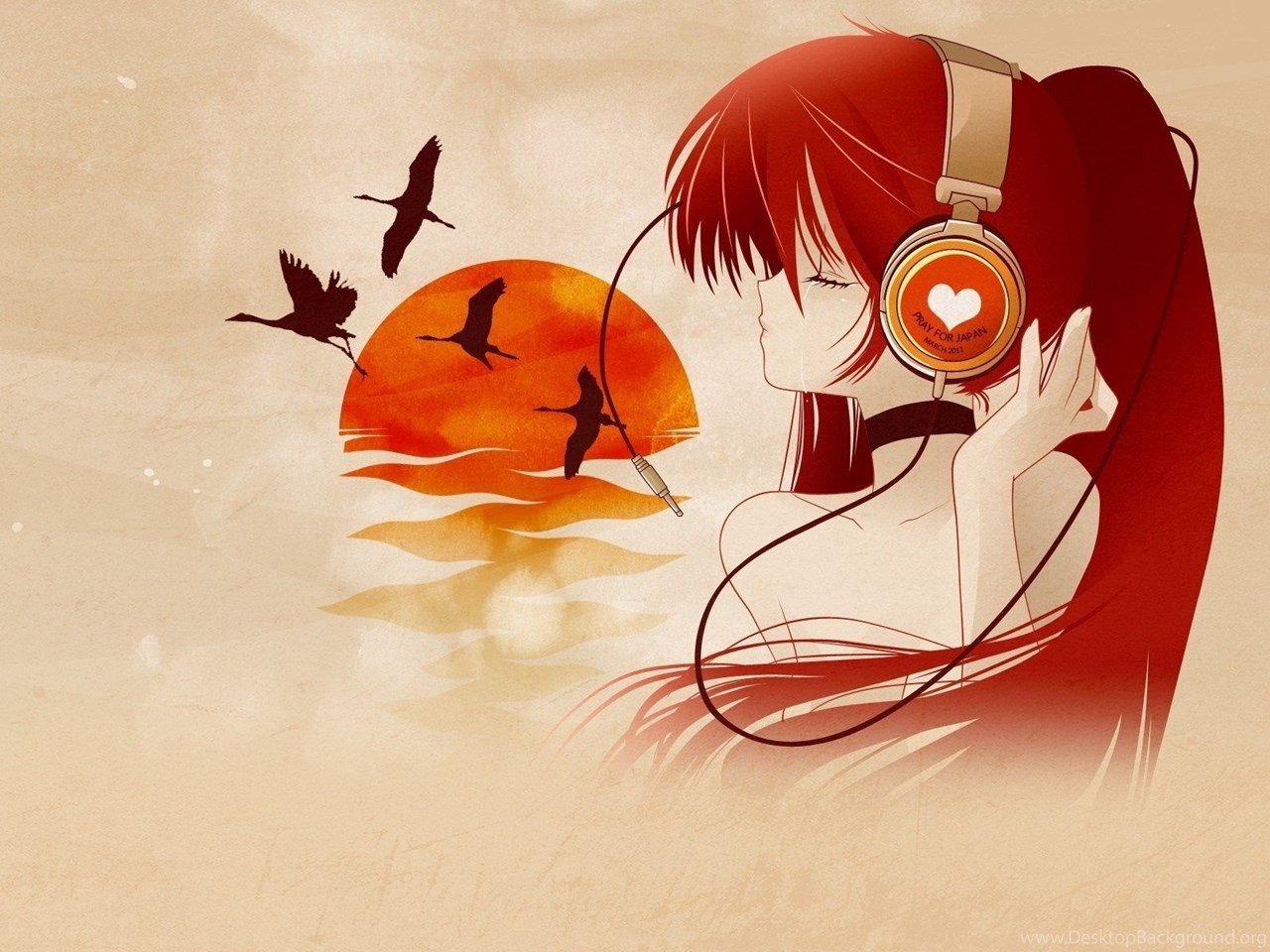Anime Music Big Eyes Chair Pattern Headphones Dress Wallpapers