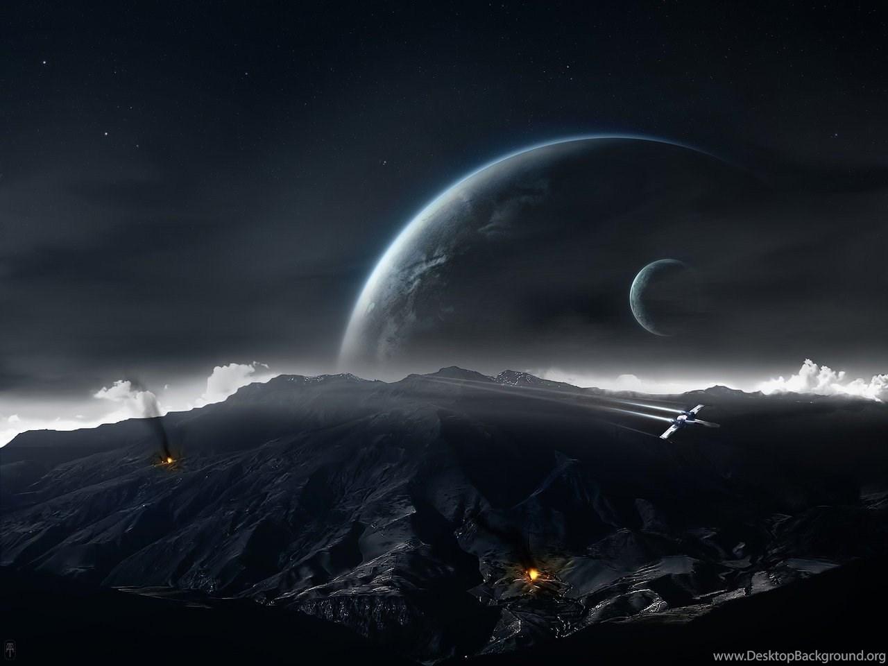 Star Wars Planet Moon Battle Space Art Wallpapers Hd Desktop Desktop Background