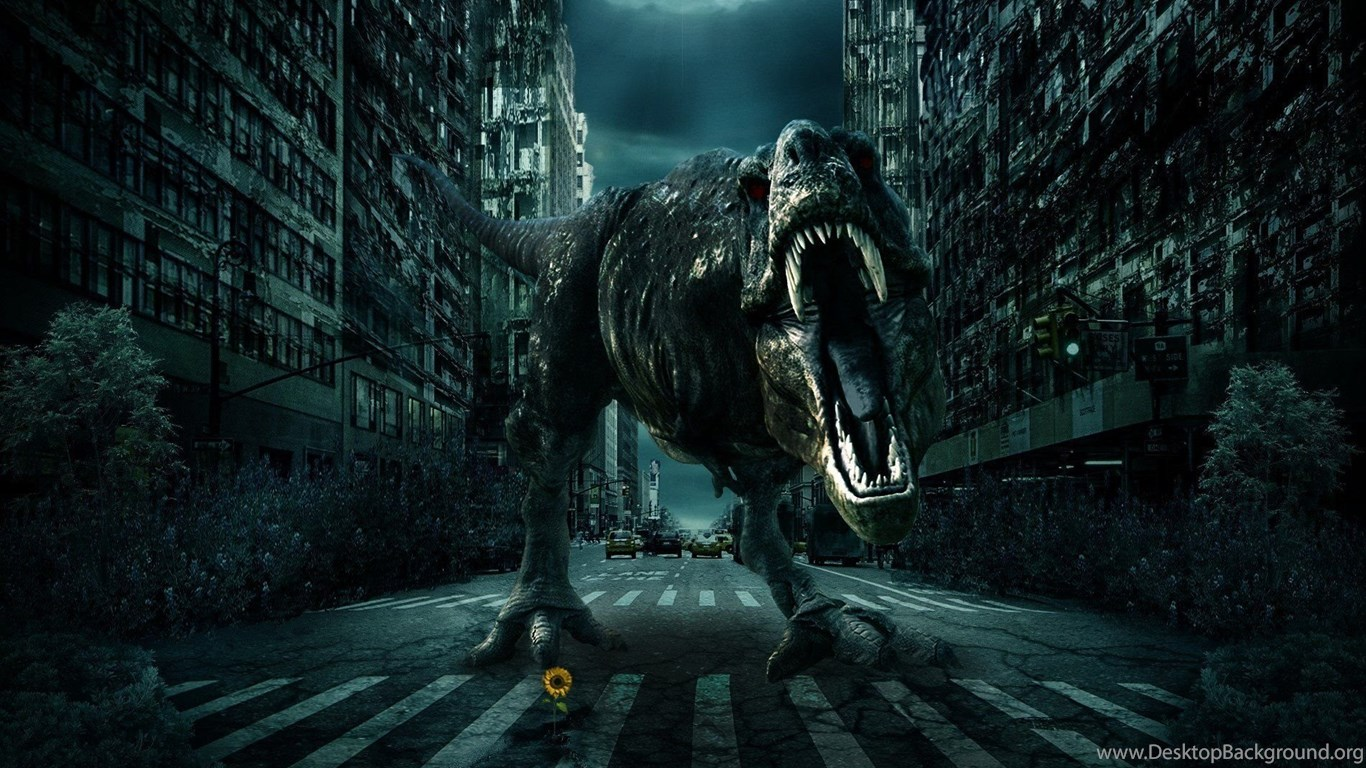 city road dinosaur 3d fantasy monster wallpapers desktop background