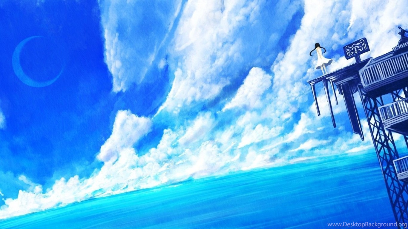 Blue Anime Scenery Wallpapers Desktop Background