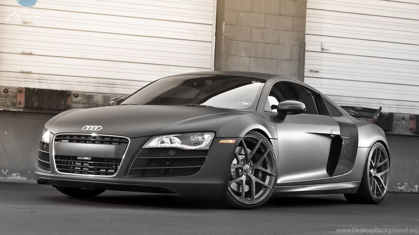 Audi R8 Matte Black Wallpaper Desktop Background