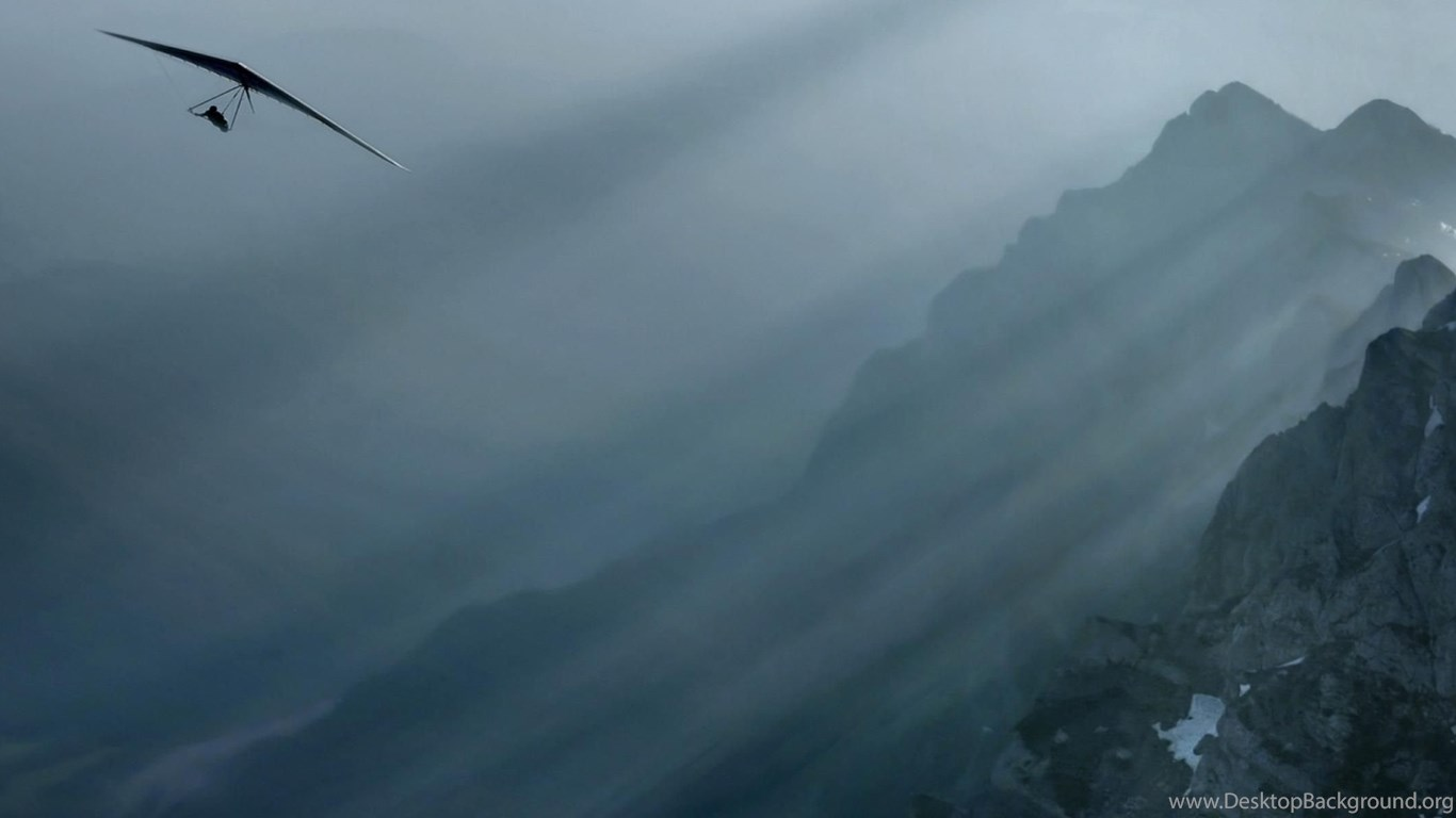 Download Wallpapers Hang Glider Over The Mountains (3200 X 1200