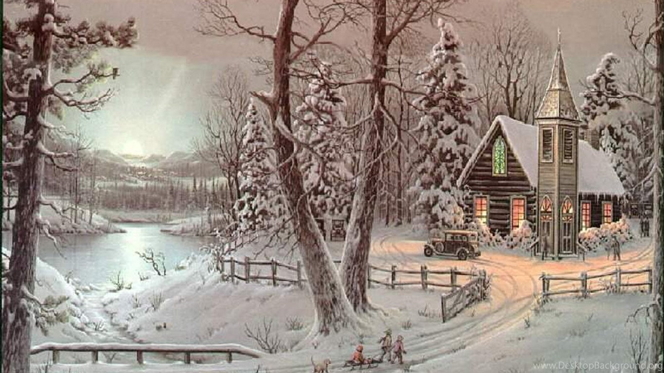 Top Old Fashioned Christmas Scenes Wallpapers Desktop ...