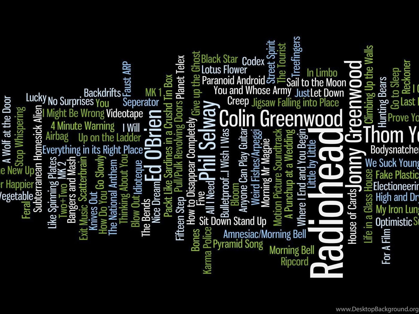 Music Text Typography Radiohead Song Rock Music Wordcloud
