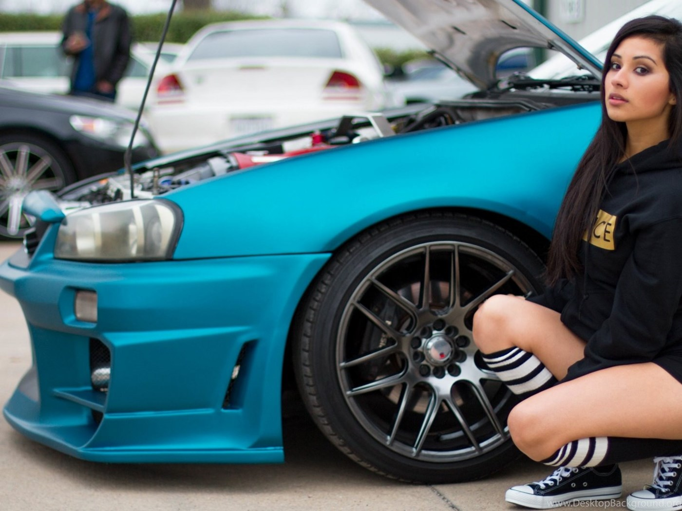 Girl Next To Blue Modified Car Hd Wallpapers For Your Pc Mac Or